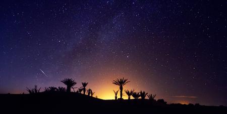 Maroc Sahara désert étoilé ciel nocturne sur l'oasis. Voyager au Maroc. Brillez au-dessus des palmiers de l'oasis. Des milliards d'étoiles dans le ciel nocturne, voie lactée. Photo panoramique