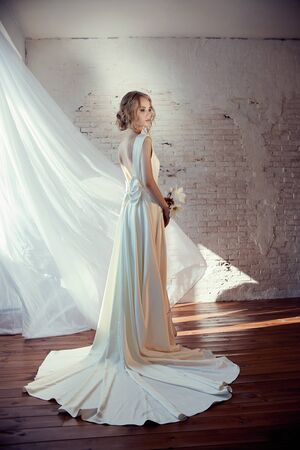 Perfect bride with jewels, a portrait of a girl in a long white dress. Beautiful hair and clean delicate skin. Wedding hairstyle blonde woman. Girl with a white flower in her hands Stok Fotoğraf - 130037588