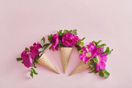Bright flowers in a waffle cone on a pink paper background. Spring flowers, summer mood. Place for text, cosmetics from flowers of different plants