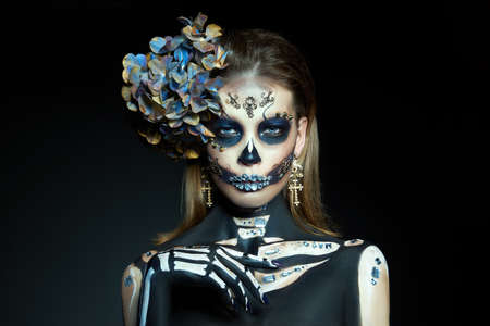 Halloween beauty skeleton woman makeup face. Girl death Halloween costume. Day of The Dead. Charming and dangerous Calavera Catrina