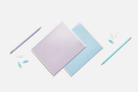 Colored school supplies for learning on a white background. Back to school. Pens, rulers, pencils and paper clips. Flat lay, top view, copy space Zdjęcie Seryjne