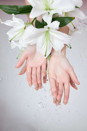 Beauty hands with lily flowers lie on table, woman beauty hands on wet flower mirror moistening. Natural flower cosmetics for hand skin care. Smooth beauty skin, anti-wrinkle, anti-aging Standard-Bild