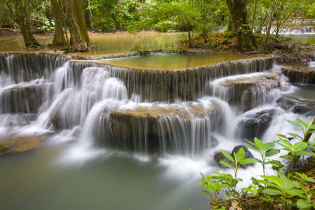 Huay Mae Khamin, paradise Waterfall located in deep forest of Thailand