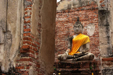 Buddha statue in ancient temple at Ayutthaya,Thailand