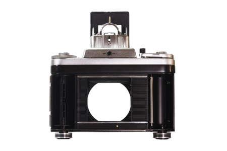 imprisoned: Film camera looking through a camera curtain shutter Stock Photo