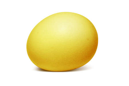 accrue: Gold egg on a white background
