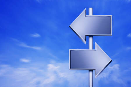 two roads: Empty signposts with bright blue sky III
