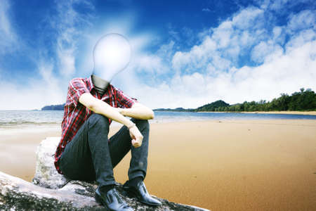 The sun in lamp man on landscapes background 3 Stock Photo