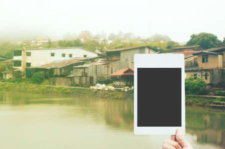 instant film transfer: polariod frame on landscapes view background
