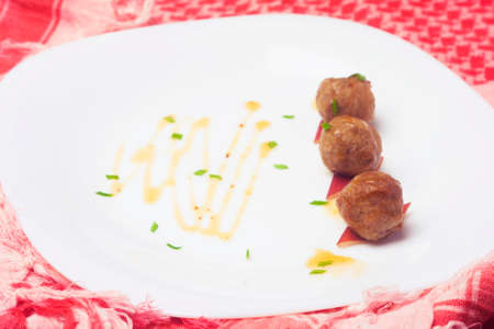 fried: Fried meatballs Made from pork. Thai food snack. Modern style