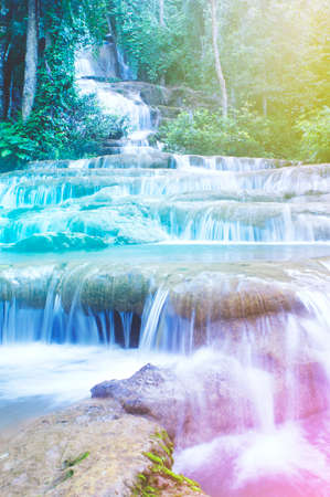 Pha Charoen Waterfall at National Park, Mae Sot, Tak, Thailand, Colorful Style