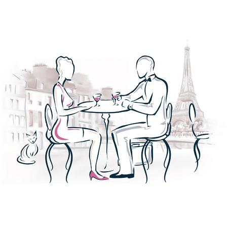 Dibujo de una pareja romántica cena en París.