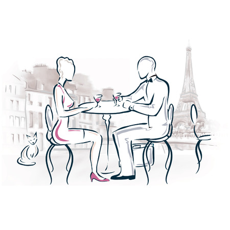 romance: Drawing of a romantic couple dining in Paris.
