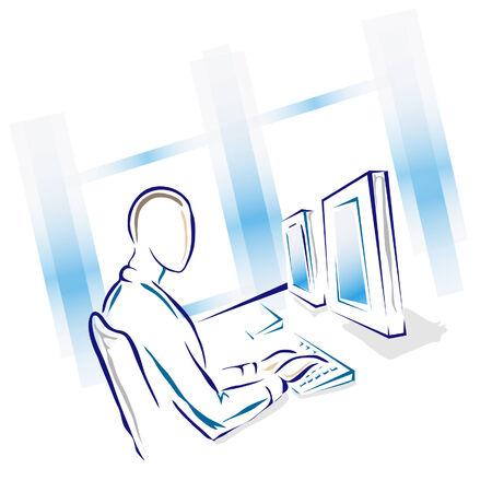 彼のコンピューターで働いていた男性のイラスト。  イラスト・ベクター素材