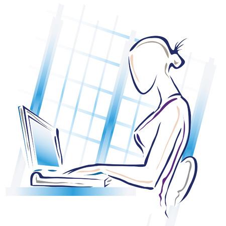 彼女のコンピューターで働いている女性のイラスト。  イラスト・ベクター素材