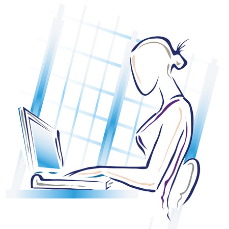 publisher: An illustration of a woman working at her computer. Illustration