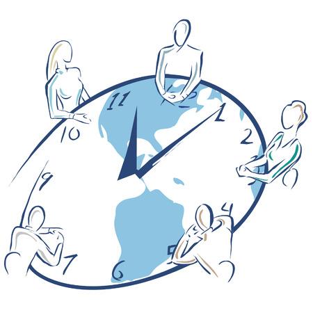 表 chaped で行われているミーティングのイラスト ・時計が好きです。  イラスト・ベクター素材