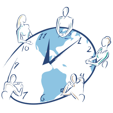 meeting: An illusration of a business meeting being done on a table chaped like a clock. Illustration