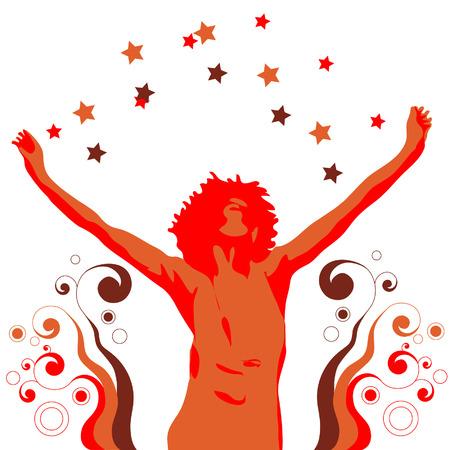 1970 年代スタイルのダンスの黒人女性のイラスト。