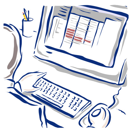 An illustration of a man working in his office, at his desk, on his computer.