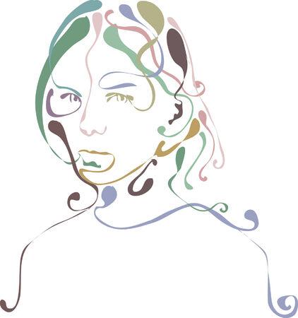 다채로운 여성 얼굴 디자인의 그림.