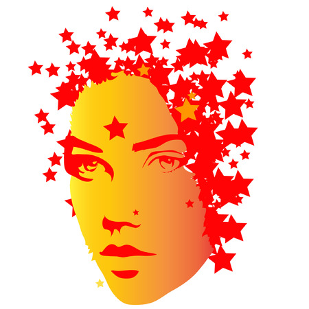 hot woman: An illustration of a female with stars.