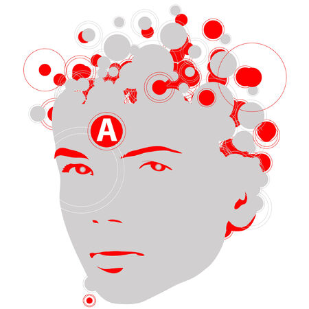 An illustration of a face with red and gray circles.