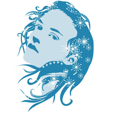 An illustration of a woman who is blue with snowflakes in her hair.