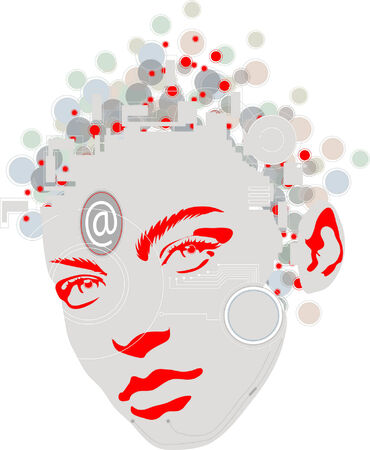 An illustration of a colorful female face design.