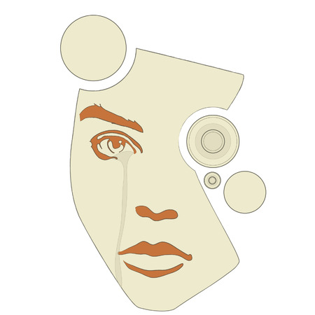 An illustration of a colorful robot like female face design. Vector