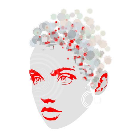 女性の顔をカラフルなデザインのイラスト。  イラスト・ベクター素材