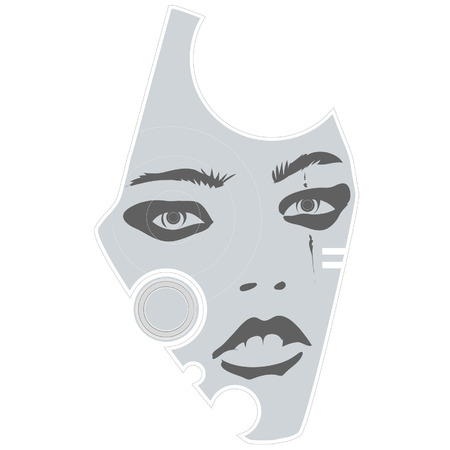 An illustration of a gray female face design. Vector