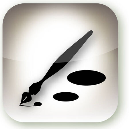 An illustration style button containing an ink pen.