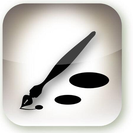 Een illustratie van een iphone stijl knop met een inkt pen. Stockfoto - 5751920