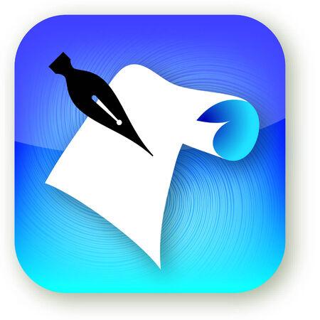 紙の iphone スタイル アイコンをペンのイラスト。