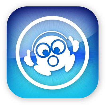 Een illustratie van een kleine man luisteren naar zijn hoofd telefoon op een iphone stijl knop. Stockfoto - 5753581