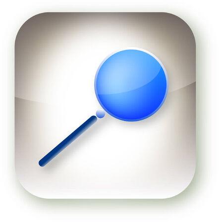mag: Une illustration sur une loupe sur un bouton de style iphone.