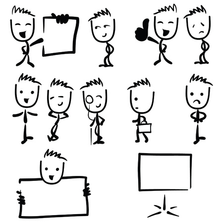 Business man illustration stick figure drawing