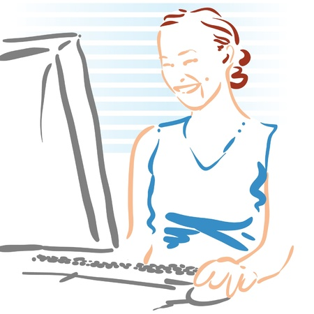 woman using a computer Stock fotó - 20386920