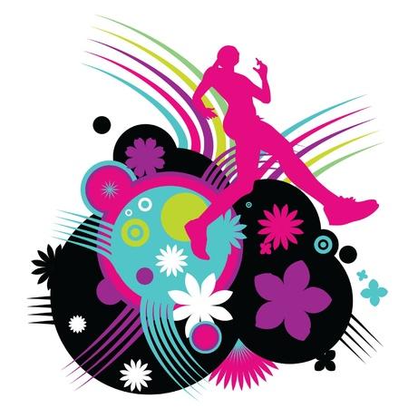 running track: Meisje atletiekbaan Stock Illustratie