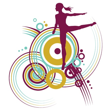 Young ballet girl dancing with swirl design