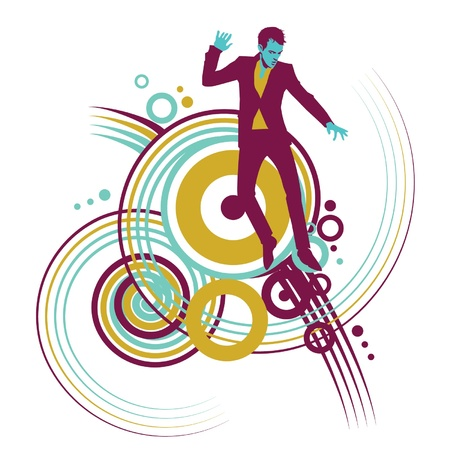 Man in a suit dancing with swirl designs