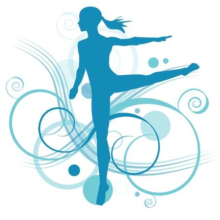バレエを披露する少女  イラスト・ベクター素材