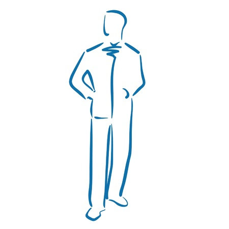 business man pocket line art