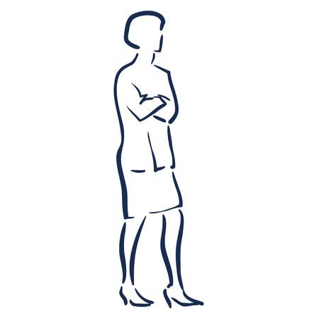 ビジネスの女性の腕を折る