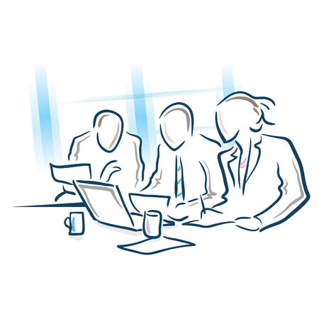 businesses: business meeting planning Illustration