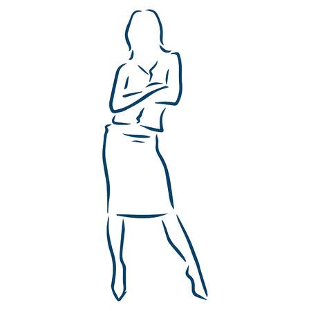 女性実業家: ビジネス女性腕を組んで