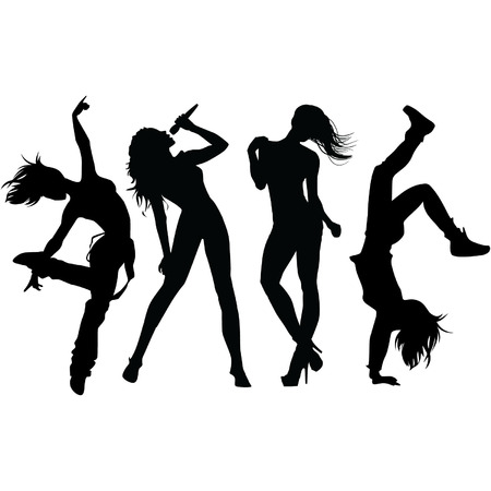 silhouettes: female dancing silhouettes