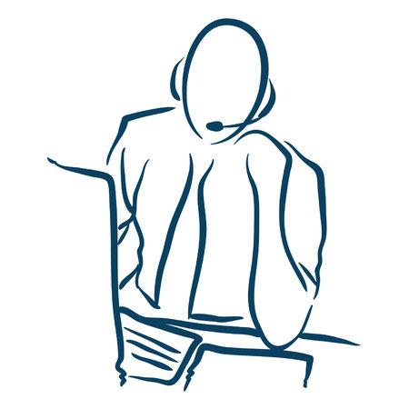 computer support male Ilustração