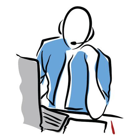 tech support computer Ilustração